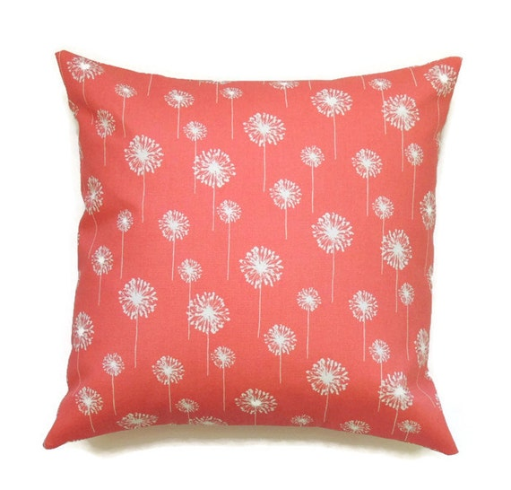 Small Coral Throw Pillows : Coral Pillows 16x16 Pillow Cover Floral by ThePillowToss on Etsy