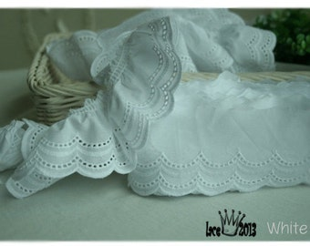 """14Yds Embroidery scalloped cotton eyelet lace trim 2.4"""" YH1423 laceking2013"""