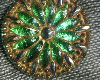 Green and Gold Dazzling Daisy in Green Czech Glass Button 32mm