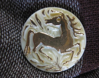 Galloping Horse on Cream Czech Glass Button 27mm