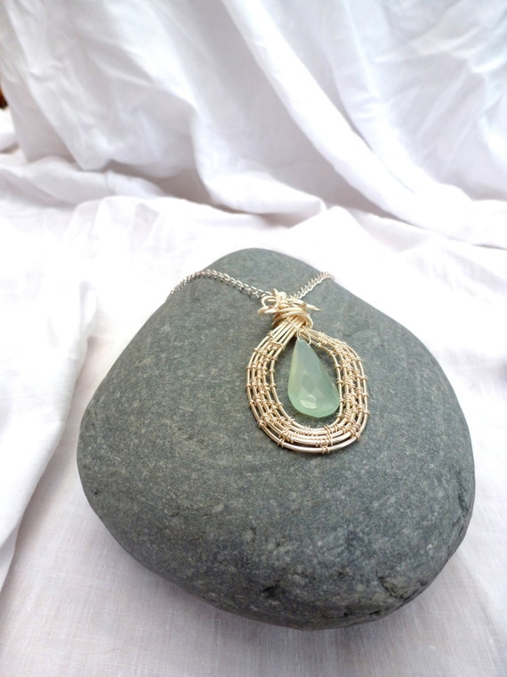 Blue Chalcedony wirework necklace