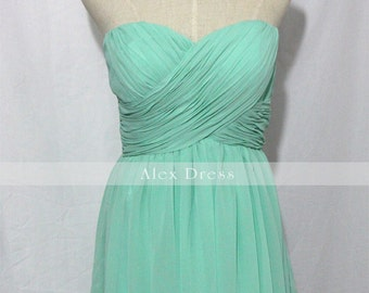 Mint Sweetheart Chiffon Short Bridesmaid Dress Mint Strapless Dress-Custom Dress