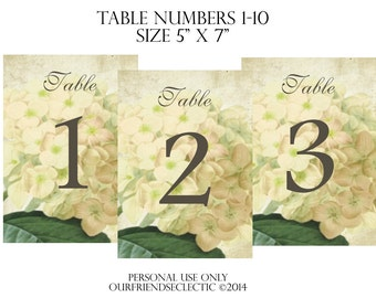Digital download printable wedding party table numbers 1-10 shabby ivory hydrangea vintage you print