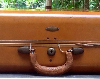 Antique Medium Samsonite Brown Leather Suitcase