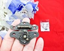49mm x 39mm vintage cabochon Angel wings bronze Jewelry Box Staple Hasp Catch / jewelry box latch / small box hardware LC0011