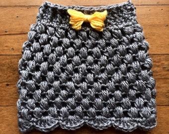 CROCHET PATTERN for Puff Stitch Newborn Skirt