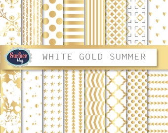 Gold, Metallic gold paper, Gold paper, White and gold, Gold background, Gold digital paper, Gold patterns, Commercial use, Gold foil paper