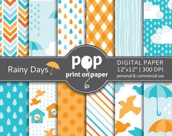 Bird digital paper RAINY DAYS rain digital paper, spring showers, umbrella, orange and blue colors, boy birthday theme, modern digital paper