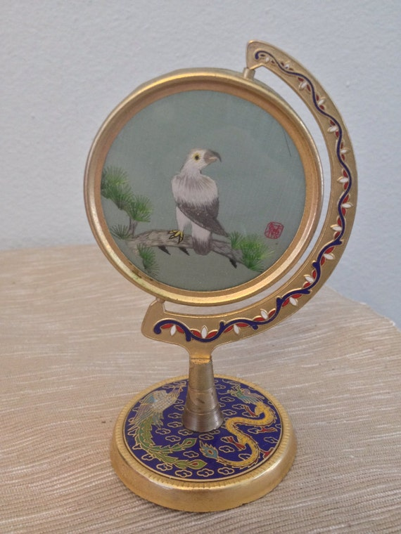Vintage asian brass and cloisonne stand by for Cloison stand