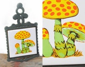 RETRO Mushroom Trivet // Hippie Psychedelic // Orange & Yellow // Ceramic, Cast Iron Tile // Hippie Kitchen