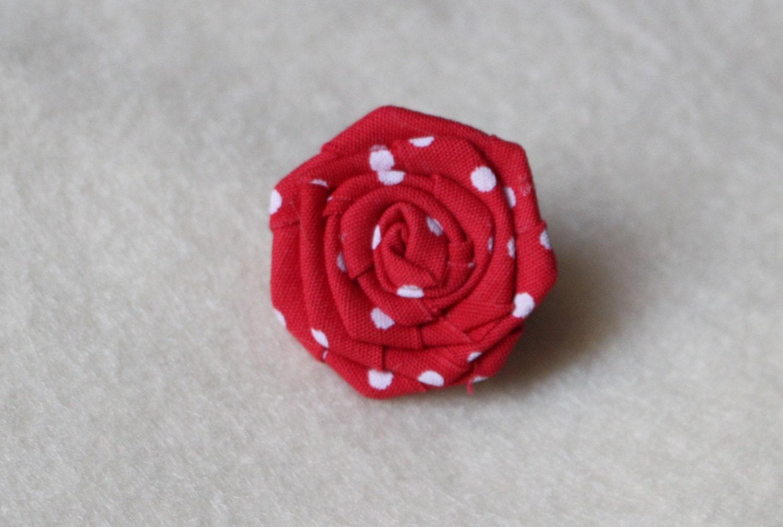 Red polka dot flower lapel pin