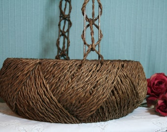 """Antique, vintage , wicker , woven, twine, rope, metal , wood , wire, basket with handle, large 14 1/2"""" round, basket , serving basket"""