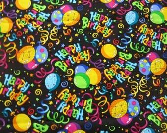 "1/2 yard of 100% cotton ""Happy Birthday"" fabric"
