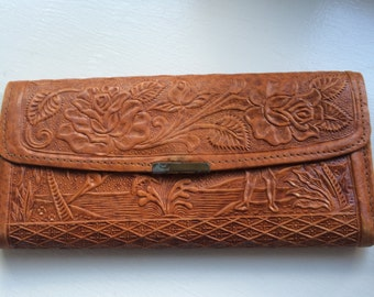 Vintage  Hand Tooled Leather Large Wallet from Acapulco