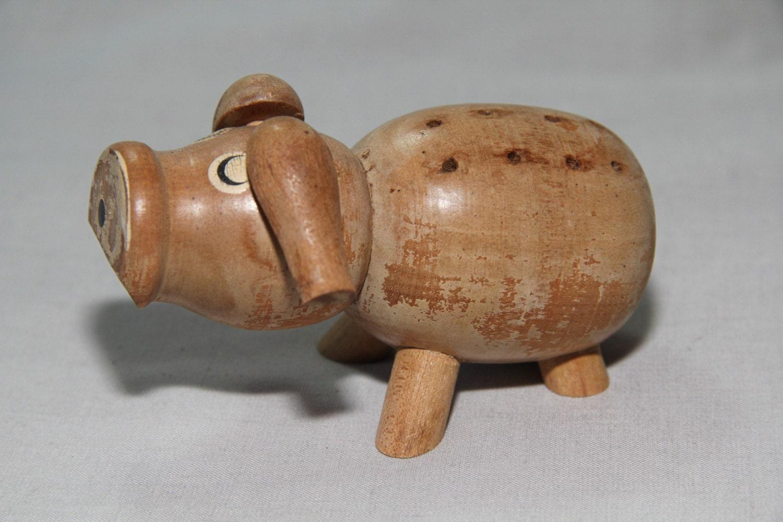Vintage kitsch 1970 39 s wooden pig toothpick holder - Wooden pocket toothpick holder ...