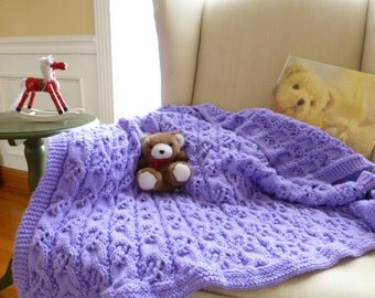 Purple Cables and Lace Baby Girl Blanket