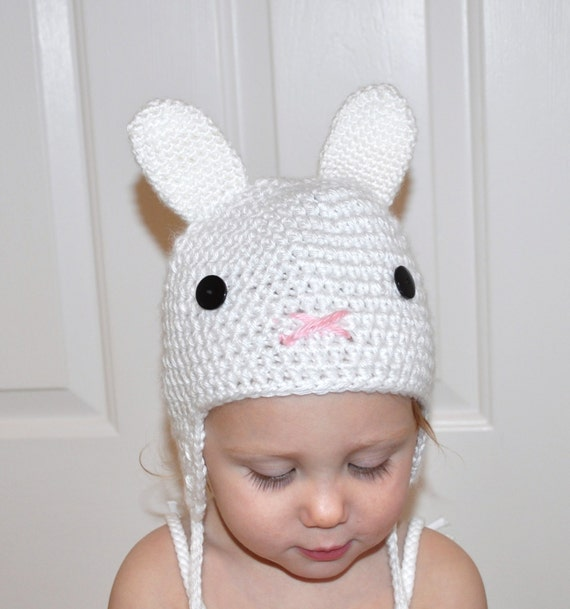 CUTE BUNNY HAT with Earflaps & Ties for Baby Photo Prop