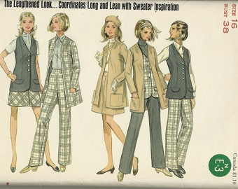 Butterick 5354    Misses, Jacket, Vest, Skirt, and Pants  UNCUT  Size 16  C1960's