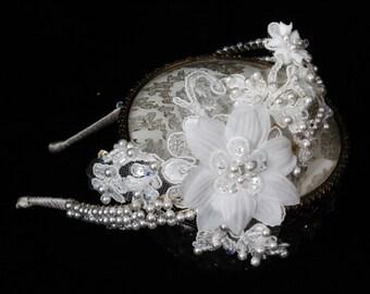 Wedding Hair Accessories,Lace Headband,Pearl Wedding headpiece,Lace Bridal HeadPiece,Tiara,Swarovski,Bridal Headband,Bridal Headpiece