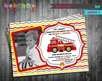 Firetruck/Firetruck Invitation/Firetruck Birthday Card/Birthday Invitation/Chevron Invitation/Invitation/Firetruck Party Digital/Printable