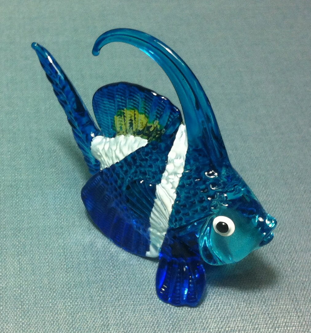 Hand blown glass exotic fish sea animal cute blue white yellow for Blown glass fish