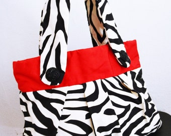 Free Ship Zebra Purse Red Black and White Shoulder Bag