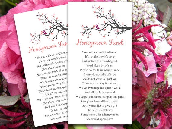 Wedding Gift For Couple Who Have Been Living Together : Love Birds Wedding Honeymoon Fund Card Tree Branch Wedding Blush ...