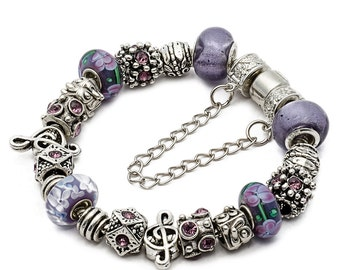 Purple Sol Key eArt European Charm Bracelet, Women Jewelry, Free Shipping Worldwide #PANBRC-17