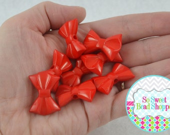 Acrylic Bow Beads, Red, 8 ct, 19X26mm