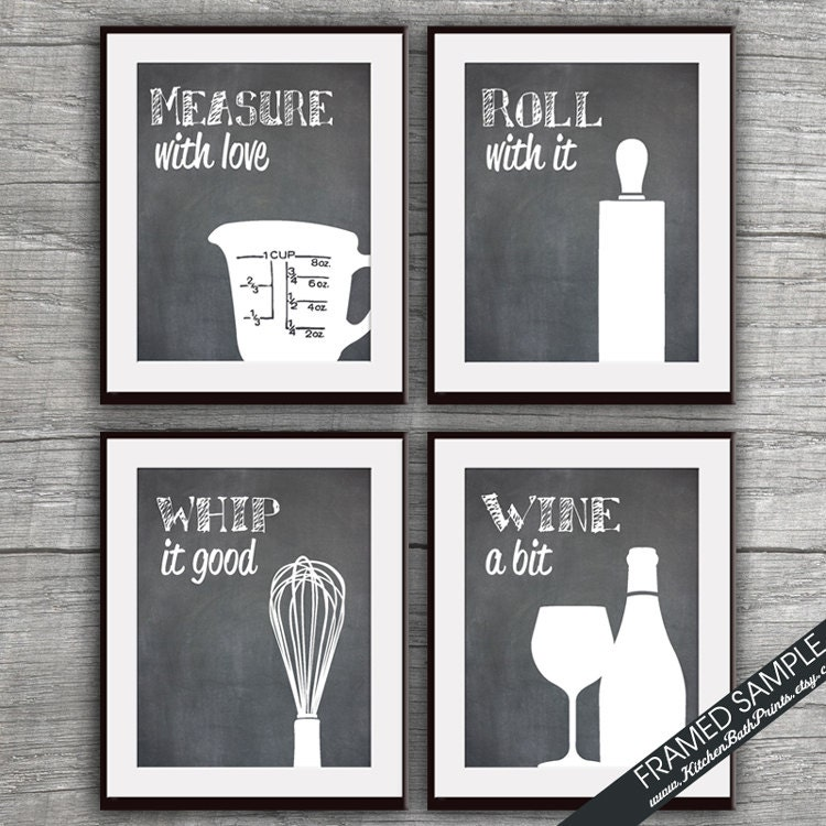 Funny kitchen art print set measuring cup rolling pin whisk for Funny kitchen set