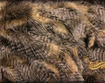 Plush Faux Fur Throw  / Comforter / Blanket / Luxury Brown Feather  / Premium Exotic Fur Pelt   / All New Sizes