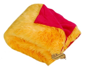 FUR ACCENS Fan Fur Faux Fur Throw Blanket / Reversible / Gold and Red