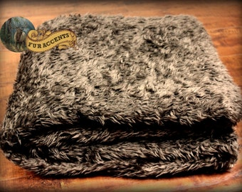 FUR ACCENTS Faux Fur Bedspread / Comforter / Blanket / Shaggy Brown Bear