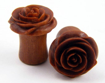 Rose Flower Ear Gauge Plugs - (2g) - Sawo / Sabo Wood