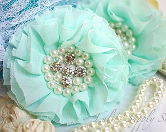 Set of 2 - Mint Beaded Fabric Flowers - Mint Fabric Flower - Mint Chiffon Beaded Flower - Ruffle Parisian Chiffon Flowers