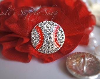 Baseball Rhinestone Buttons - Ribbon Sliders - Metal Embellishments - Flower Centers - Hairbow Centers - 25mm Metal Rhinestone Buttons