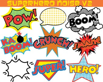 Superhero Clipart - Comic Noise clip art - Superhero Sounds
