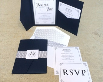 5x7 Navy and Silver Vintage Pocket Wedding Invitation with Envelope Liner, Enclosure Band & Monogram with Details and RSVP Inserts