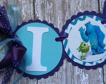 Monsters Inc High Chair Banner Monsters inc birthday monsters inc party monsters inc I am 1