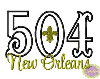 504 New Orleans Fleur De Lis Machine Embroidery Applique Design