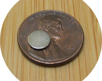 """100 count - 1/4"""" inch X 1/32"""" - rare earth magnets great for bottle caps Neodymium disc"""