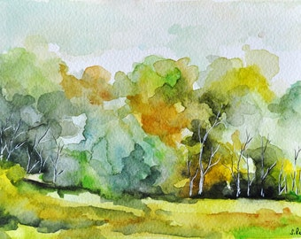 ORIGINAL Watercolor Painting, Summer Landscape Painting, Watercolor Trees 6x8 Inch