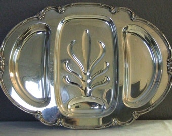 Large Vintage  3 part - Silver Meat Tray - Plated -  Remembrance - Rogers Bros 1847 Divided