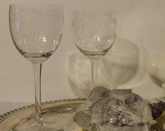 Vintage Etched Tall  Wine  Glasses -Set of Two - Wedding / Anniversary