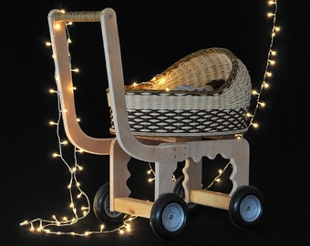 Doll carriage, Wicker doll buggy, Doll pram, Doll stroller, Toy, Children, Cradle