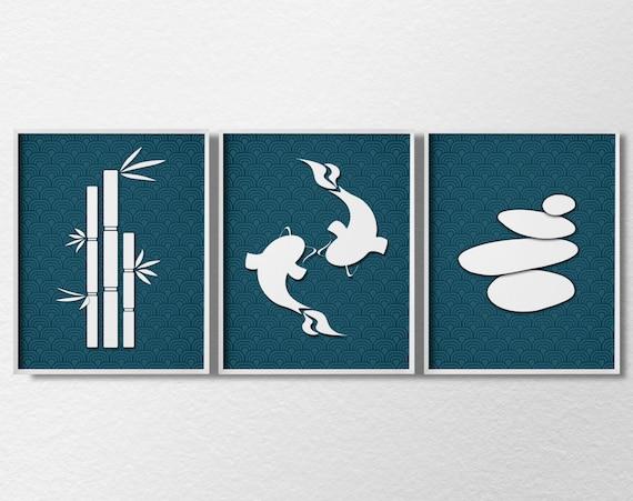 Items similar to Zen Nature Print Set, 3 Piece Set, Wall
