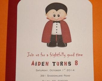 Vampire Birthday Invitation, Vampire Halloween Invitation