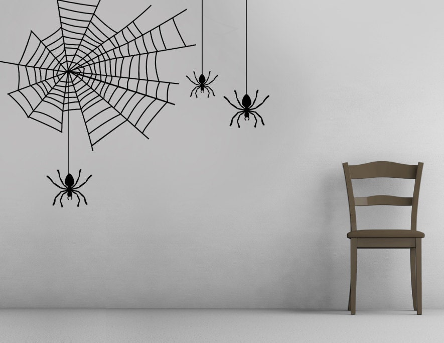 ships next day halloween spider web decor vinyl decal wall