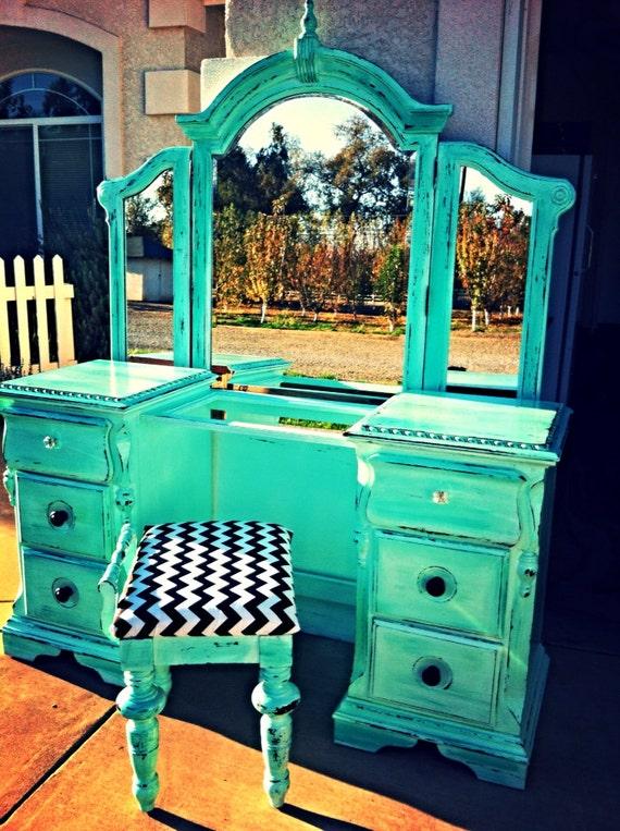 Sold Mandy Aqua Blue Green Distressed Vanity Dresser With