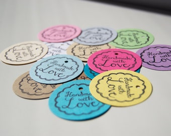 Handmade With Love Tags, Product Tags, Handmade by Tags, Gift Bag Tags, Commercial Paper Tags, set of 50 pcs